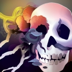 Annihilation Skull Covered in Fungus and Flowers